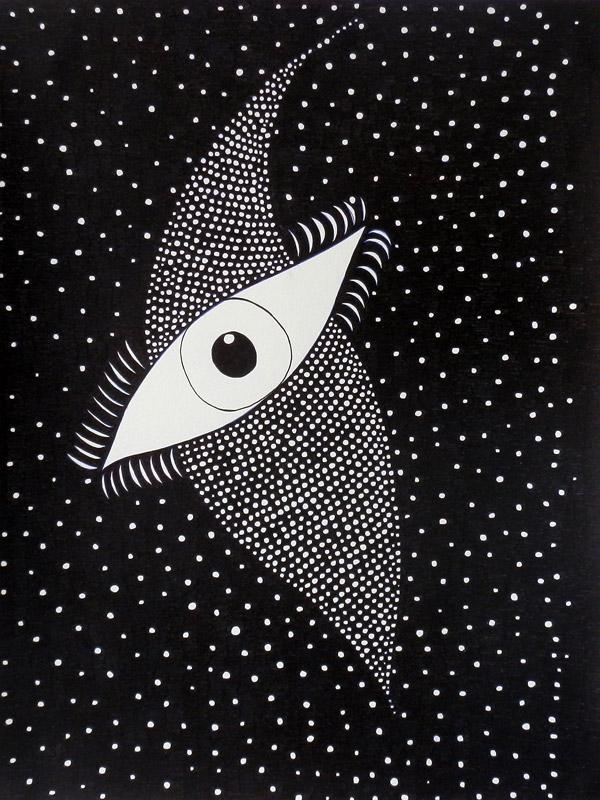 Le troisième oeil plongé dans l'inconnu des étoiles, encre noir sur papier canson 24x32cm,2014.