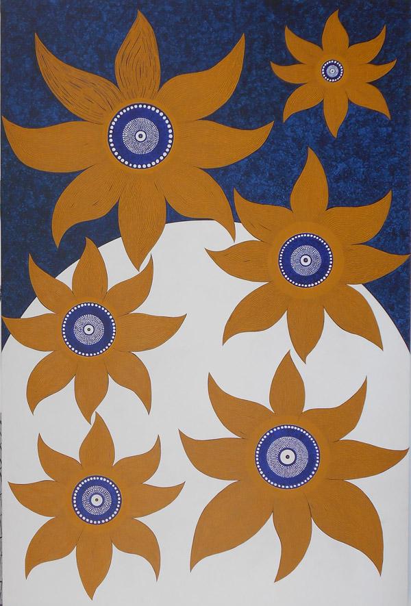 Les six tournesols au coeur emplis d'étoiles, Acryliques sur toile