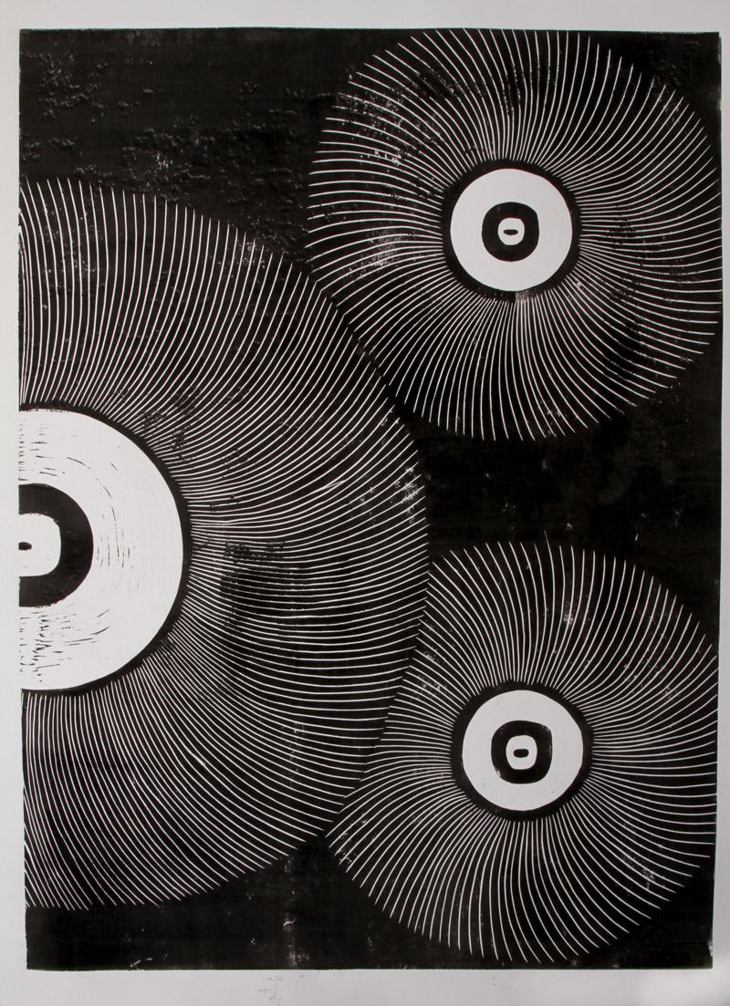 Les pissenlits III, 80,5x60cm, Linogravure, 2018