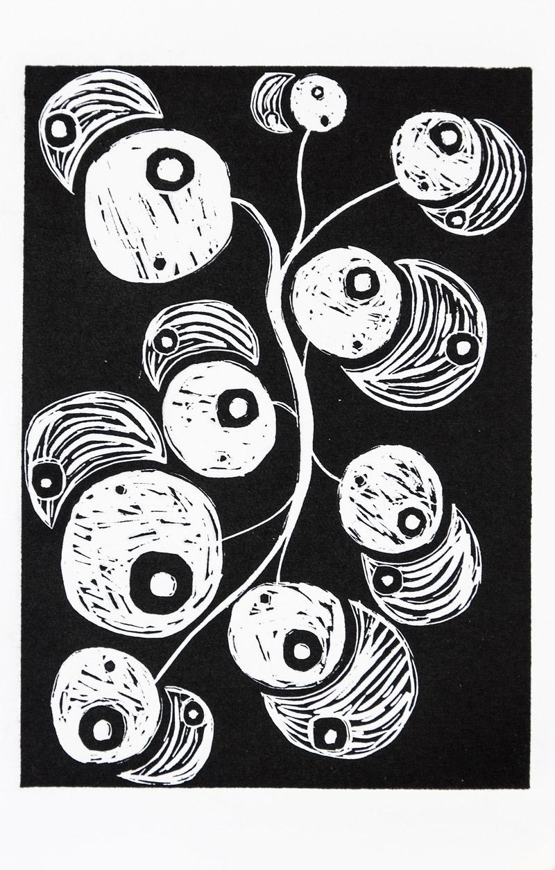 Nature morte aux pommes, 36,6x24,2cm, linogravure, 2017