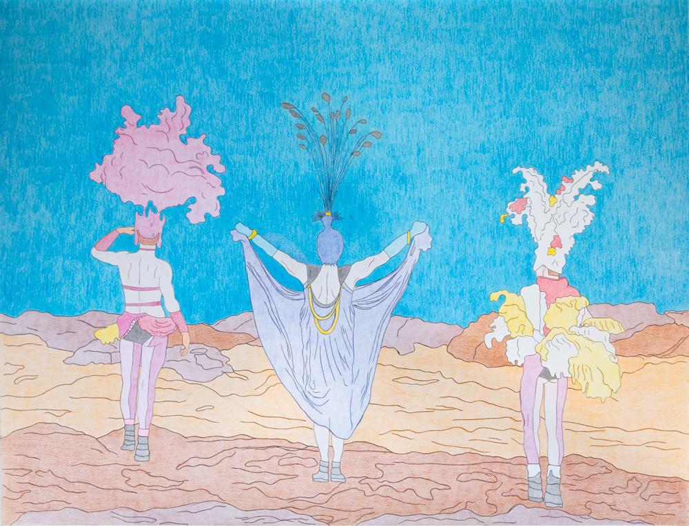 I had a dream, 50x65cm, crayons de couleurs sur papier, 2020