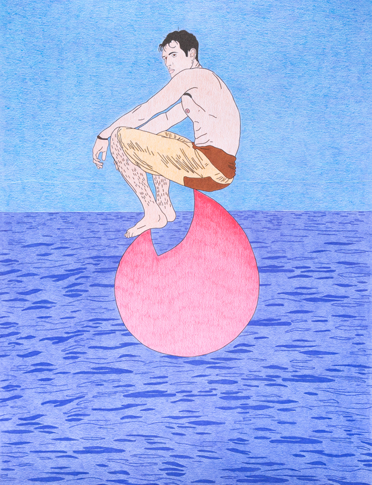Lonely man on a tinder rock, 65x50cm, crayons de couleurs, 2020