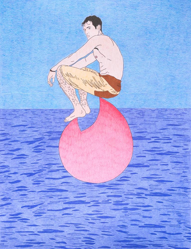 Lonely man on a tinder rock, 65x50cm, crayons de couleurs, 2020