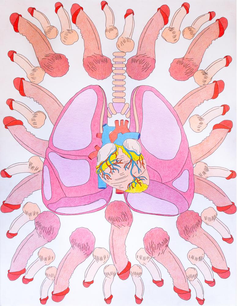 Lungsbeat, 65x50cm, crayons de couleurs, 2020
