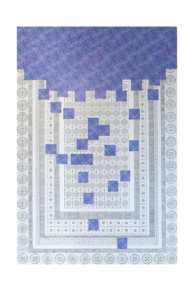 Tetris n°1, 195x130cm, collage et acrylique sur toile, 2020