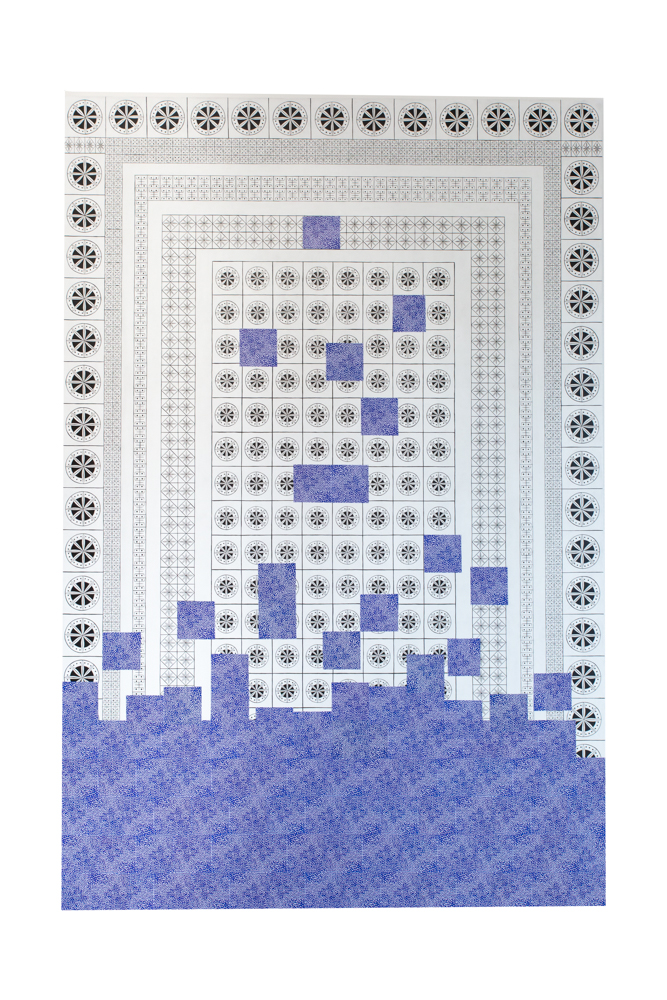 Tetris n°2, 195x130cm, collage et acrylique sur toile, 2020