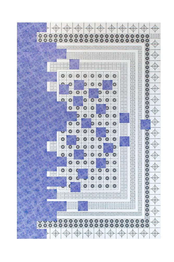 Tetris n°3, 195x130cm, collage et acrylique sur toile, 2020